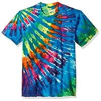 Liquid Blue Unisex-Adults Rainbow Blue Streak Tie Dye Short Sleeve T-Shirt, Multi Colored Tie Dye, Large