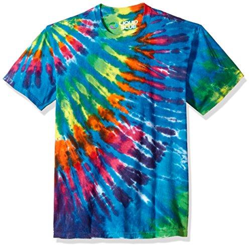 Blue Tie-dye-t-shirt (Liquid Blue Unisex-Erwachsene Rainbow Blue Streak Tie Dye Short Sleeve T-Shirt, Multi Colored, Large)