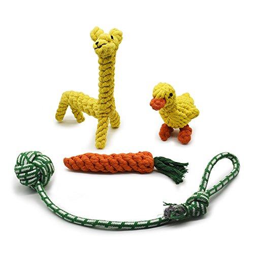 Hundespielzeug Kauen Seil Spielzeug Tauziehen Seil Ball Tier geformt Knoten Spielzeug Karotten-Seil Baumwollseil Spielzeug Von AMZTM (Satz Von 4) (Karotten Nur Genug)