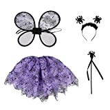 Amosfun Disfraz de Cosplay para niños Halloween Spider Fairy Wings Wand Diadema Tutu Cute Dress Up Ajustable Disfraces de Halloween