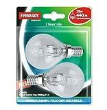 Eveready Lighting G45 Golf ECO Halogen Bulb 28 Watt (40 Watt) SES/E14 Small Edison Screw Card of 2 EVES4885