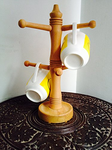 Buyaddiction Wooden Coffee Mug Tree Tea Cup Holder Stand Mug Storage Rack with 6 Hooks