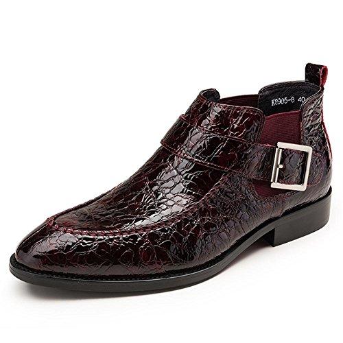 Männer Patent Leder Schuhe Formal Geschäft Hochzeit Schwarz Schlüpfen Spitz Zehe Weich Oxford zum Männer Party Größe 38-44 , wine red , EUR 43/ UK 10 (Leder-flip-flops Schwarz Patent)