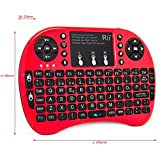 Rii Mini i8 + Mini Clavier ergonomique avec souris et Touchpad intégré Lumière de fond Compatible avec SmartTV, mini PC, Android, PS3, PS4, Xbox, HTPC, PC, Raspberry Pi, Kodi, XBMC, IPTV, MacOS, Linux et Windows XP/7/8/10 (Rii Mini i8 + Rouge)