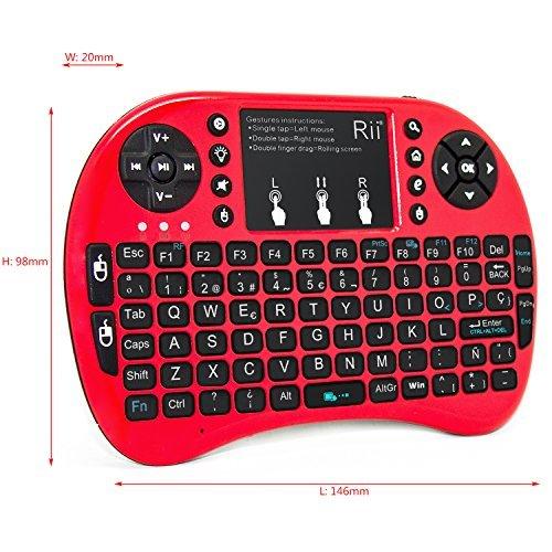 (Novedad 2015, con Luz de fondo) Rii mini i8+ Mini teclado ergonómico con ratón tipo touchpad incorporado. Compatible con SmartTV, Mini PC, Android, PS3, PS4, Xbox, HTPC, PC, Raspberry Pi, Kodi, XBMC, IPTV, MacOS, Linux y Windows XP/7/8/10 (Rii mini i8+ Rojo)