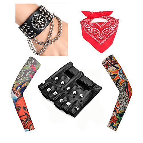 Rock Star Punk Kostüm - Rpanda 80s Punk Gothic Rocker Kit, Men's Heavy Metal Rock Punk Disco Halloween Kostüme Accessoires mit Punk Gloves Arm Fake Tattoo Sleeves Cover Leder Armband