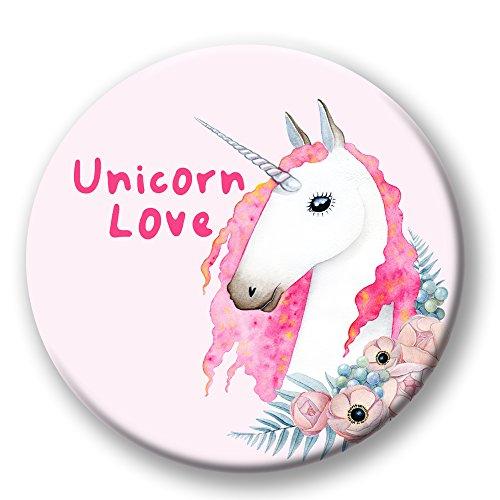 Polarkind Button Pin Karneval Anstecker Einhorn Unicorn Love 38mm Handmade pink