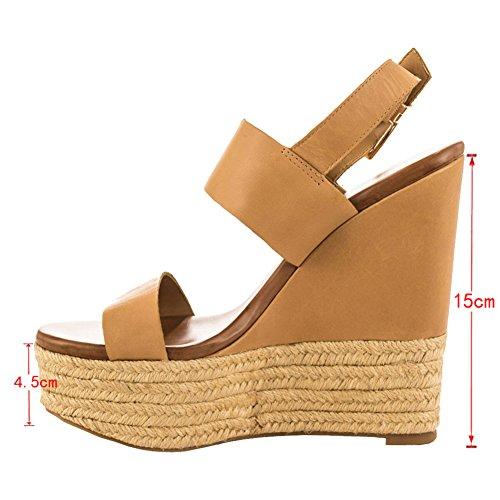 EKS , Sandalettes à semelle compensée femme Marron