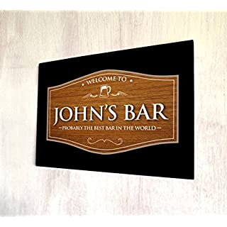 Artylicious Personalised Welcome wood effect pub sign bar A4 metal sign plaque wall art