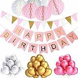 ZhengYue Pancartas de Banderines de Happy Birthday con 6 Piezas Papel de Honeycomb Ball y 30 Piezas Globos de Fiesta para Decoración de Fiesta, Rosa