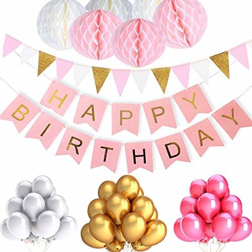 ZhengYue Geburtstag Dekoration Mädchen Rosa, Geburtstag Dekoration Set, mit 6pcs Wabenbälle, 30pcs Große Geperlte Ballons, 1 Set Happy Birthday Banner, 1 Set Wimpel Banner (Runde Wand-buchstaben)