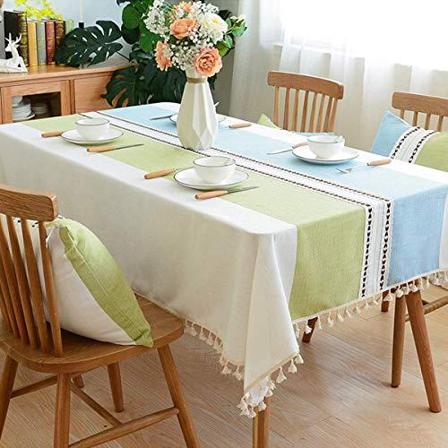 Lanqinglv Quaste Tischdecke 100x160 Abwaschbar Baumwolle und Leinen Tischtuch Grün/blau Tischdecke Rechteck Couchtisch - Blau Tischdecke Rechteck
