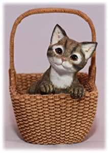 Brown Tabby Kitten In Basket Cat Ornament