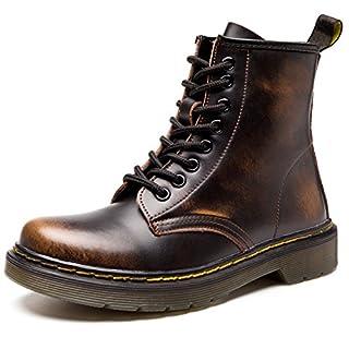ukStore Damen Stiefel Derby Wasserdicht Kurz Stiefeletten Winter Herren Worker Boots Profilsohle Schnürschuhe Schlupfstiefel,Ungefüttert/Braun 41 EU, Herstellergröße 260/1.5