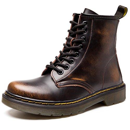 Damen Martin Stiefel Derby Wasserdicht Kurz Stiefeletten Winter Herren Worker Boots Profilsohle Schnürschuhe Schlupfstiefel,Ungefüttert/Braun 40 EU