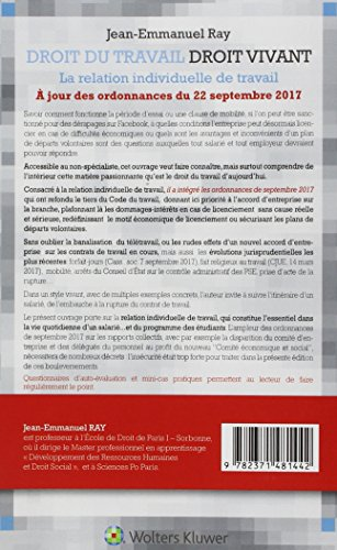 Droit du travail, droit vivant 2018. La relation individuelle de travail. A jour des ordonnances de septembre 2017