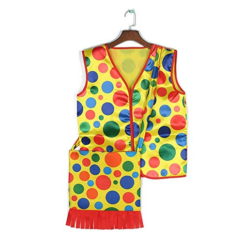 Blue-Yan Halloween Make-up Kostüme - Bunter Dot Clown Weste Rucksack - Cosplay Performance Wear Tops (Stoff)