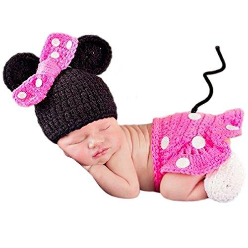 Jastore Baby neugeborenen Kostüm Fotografie Prop Süss Crochet häkeln Strickmütze Hut Cap Mädchen Jungen Windel (0-1 Monat, Minnie)