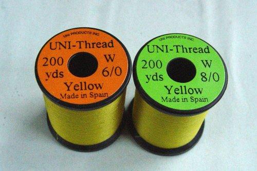 1 x UNI - Fil de montage - JAUNE - 200 yards (182m) - Taille au choix