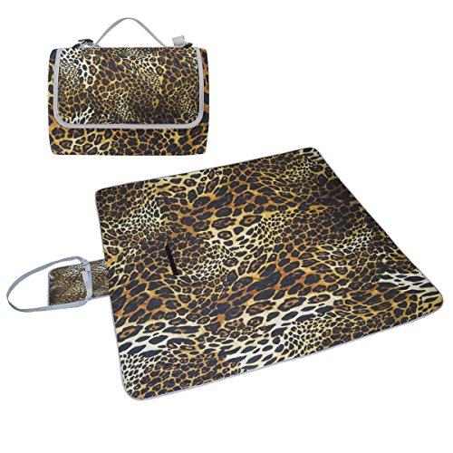 COOSUN Leopard Haut Hintergrund Picknick Decke Tote Handlich Matte Mehltau resistent und wasserfest Camping Matte für Picknicks, Strände, Wandern, Reisen, Rving und Ausflüge (Leopard-haut-taschen)