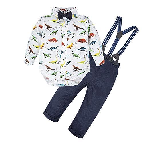 BIG ELEPHANT Baby Jungen 2 Stück Hosen Shirt Kleidung Set mit Hosenträgern L64-C-80 12-18 Monate, Dinosaurier Strampler Größe:80