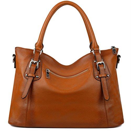 Imagen de yaluxe mujer estilo clasico cuero genuino suave  pequeña saco de mano grande bolsa de hombro naranja alternativa