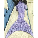 """Cola de sirena manta By S.A- Manta cálida suave de la sirena del ganchillo para adultos 4 estaciones de dormir bolsas mantas niñas (75"""" * 35"""") (luz púrpura)"""