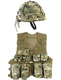 Kombat UK Kids Btp Assault Vest + Helmet Set, British Terrain Pattern, One Size