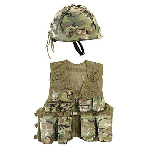 Kombat UK Kids BTP Assault Weste + Helm Set, British Gelände Muster, eine - Kostüm Military Gun Set