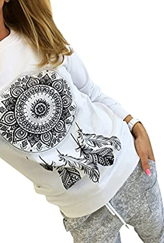 Sweat Shirt Femme Pull Imprimé Col Rond Sweatshirt Sweat-shirt T Shirt Manche Longue Sweat sans Capuche Fille Tee Shirt Manches Longues Sweats Shirts Sweat-shirts Blanc S