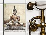 creatisto Fliesen Zum Aufkleben   Klebe-Fliesenaufkleber Küchenfliesen Bad-Folie Wanddeko   20x25 cm Design Motiv Relaxing Buddha - 1 Stück