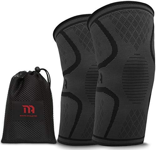 MAVE ATHLETIC Kniebandage | Die Innovative Kompressions-Bandage für Sportler | Weniger Schmerzen Dank besserer Durchblutung (Paar, XL)