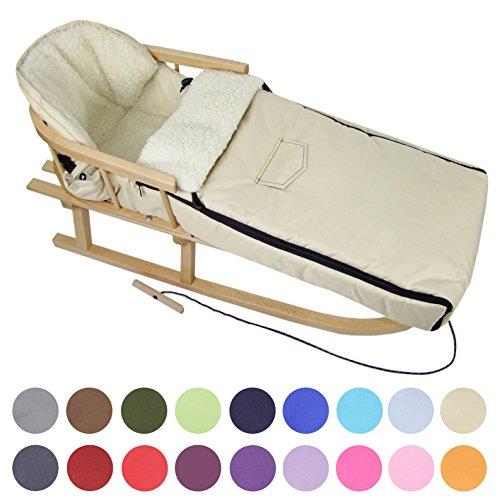 BAMBINIWELT Kombi-Angebot Holz-Schlitten mit Rückenlehne & Zugseil + universaler Winterfußsack (108cm), auch geeignet für Babyschale, Kinderwagen, Buggy, aus Wolle Uni (beige)