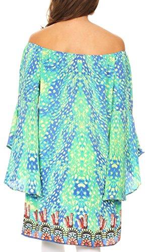 Vestito da cerimonia nuziale variopinto di Sakkas Mosi con i manicotti e le strass 17233-verde-blu