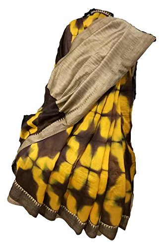 Designer Saree, Hand woven Chandery Silk saree with blouse, Handmade Clamp Dying...
