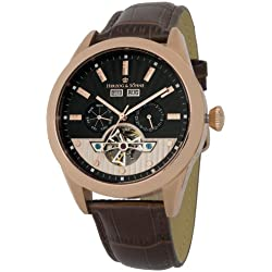 Herzog & Söhne men's automatic Watch with black Dial analogue Display and brown leather Strap HS512-325