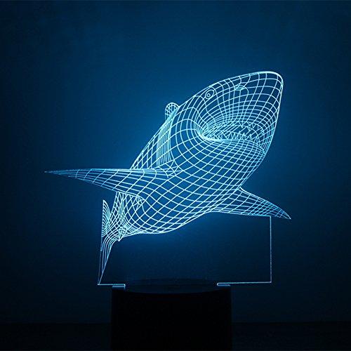 (alisable 3D Nacht Lampe Colorful Shark Form Touch Control Licht 7Farben ändern USB LED für Schreibtisch Tisch mit USB Home bunte Dekoration Beste Geschenk für Valentinstag)
