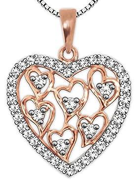 CLEVER SCHMUCK-SET Silberner Anhänger Herz 20 x 19 mm rosé teilvergoldet viele Innenherzen + viele Zirkonias offene...