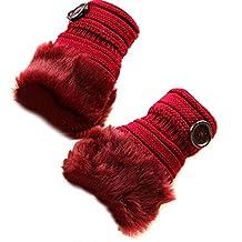 TININNA Mujeres Cálido Invierno conejo de piel falsa de la muñeca sin dedos Guantes mitones Vino rojo