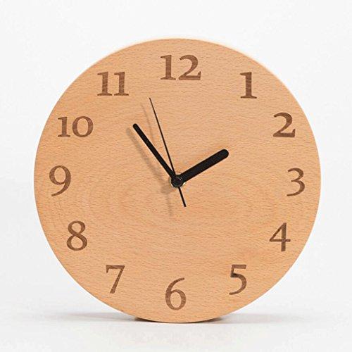 LXF Massivholz Uhr Stilvolle Mute Clock Schlafzimmer Holz Uhr (Farbe : A)