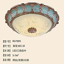 Cttsb De estilo europeo lámpara de techo dormitorio luz ronda simple salón europeo luces de pasillo luces de porche led balcón iluminación lámparas americanas, diámetro 35cm + parches de tres colores