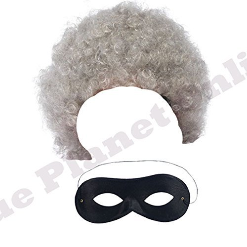 Lady Gangsta Kostüm - Ladies Adults Grey Granny Wig & Black Eye Mask Fancy Dress Costume Accessory by Blue Planet Online