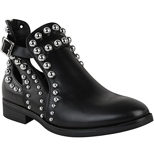 Damen Chelsea Boots mit Kugelnieten und Cut-Outs - Schwarzes Kunstleder - EUR 40 Cut-out Wedge Sandals