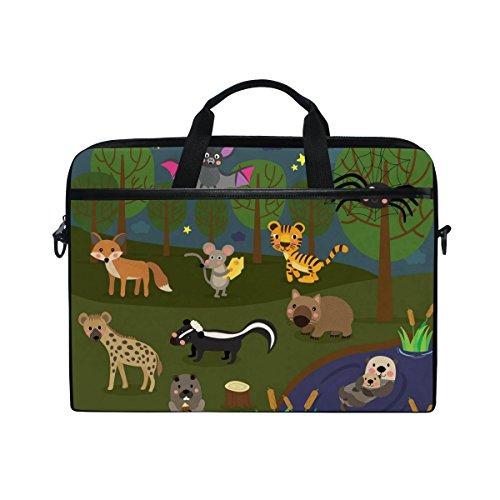 Otter-laptop-tasche (Ahomy 14-15 Zoll Laptop Tasche Star Forest Spider Bat Hyena Skunk Tiger Maus Otter Canvas Stoff Laptop Tasche Bussiness Handtasche mit Schultergurt für Damen und Herren)