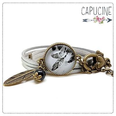 Bracelet argenté plumes avec cabochon verre - Bracelet breloques bronze - Bracelet multi-rangs - Bracelet Attrape Rêves