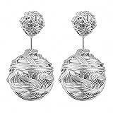 Mianova Damen Ohrringe Perlenohrringe Ohrstecker Zwei Stecker mit Doppel Kugeln Perlen Geflochten Silber