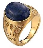 Gnzoe Schmuck Herren Edelstahl Ringe Lotus Blumen Muster Oval Vertrauensring Charme Heiratsantrag Ring Gold mit Blau Opal Gr.65 (20.7)