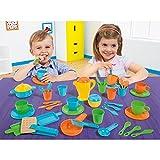 Unbekannt Farbenfrohes Geschirrset für Kinder ab 2 Jahren, 45 teiliges Set • Spielzeug Puppengeschirr Spielgeschirr Geschirr Kinderküche Zubehör