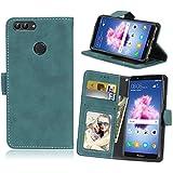 Für Huawei P Smart/Enjoy 7S Hülle, Premium PU Leder Schutztasche Klappetui Brieftasche Handyhülle, Standfunktion Flip Wallet Case Cover, Retro Frosted 3 Card Slots - Blau