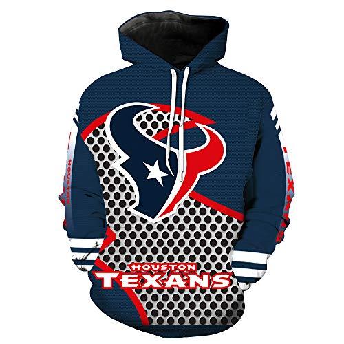 ZXTXGG Männer 3D Hoodies Houston Texans NFL Fußball Uniform Muster Digitaldruck Kapuzenpullis Liebhaber Kapuzenpullis(M,Dunkelblau) (Oakland Raiders Uniformen)